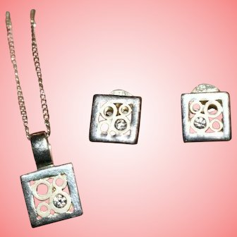 Silver Necklace Earrings Women Vintage 1990 Ladies 925 Jewellery Set 5.8 grams