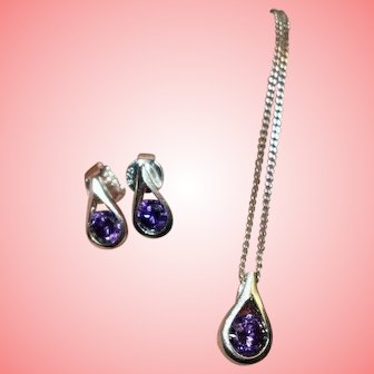Vintage Sterling Silver Necklace Earrings Set