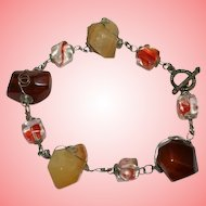 Vintage Arts and Crafts Ladies Amber Agate and Murano Style Beads Bracelet