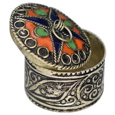 Antique White Metal Persian Trinket Pill Box with Niello and Enamel