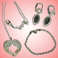 Silver Necklace Earrings Bracelet Women Vintage 1990 Ladies 925 Silver 21.82 gr