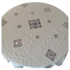 Antique Victorian Linen and Macrame Bed Spread or Tablecloth Signed