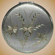 Vintage La Petite Silver Plate Engraved Butterflies Compact Mirror
