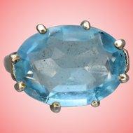 Silver Ring Women Ladies Blue Stone Ring Size P 5.38 grams