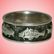 Silver Ring Women 925 Silver Fish Ring Size L 4.27 grams