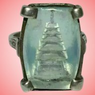 Silver Ring Blue Glass Art Deco Japanese Pagoda Ring Size M 1/2 8.18 grams