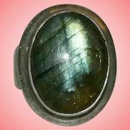 Large Labradorite 925 Silver Ring Size N