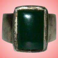 Green Stone 925 Silver Signet Ring Size J 1/2 12.97 grams