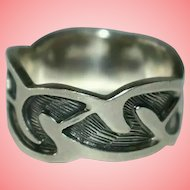 Vintage Celtic Revival Scrolled Decoration Silver Ring Size X 1/2 10.86 grams