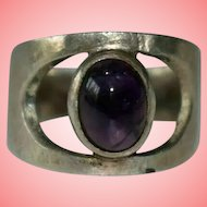 Amethyst Cabochon Silver Ring Size H 3.83 grams