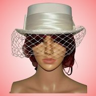 Vintage Cream Wedding Hat with Bow and Net