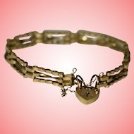 Vintage 9kt Gold Bracelet 1990 Spacer Bracelet with Heart Padlock 4.76 grams