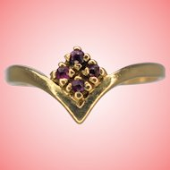 Gold Ring from 1979 Ladies 9kt Gold Rubies Wishbone Ring Size P 1/2 1.52 grams