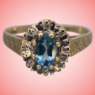 Vintage Art Deco Topaz and Diamonds 9kt Gold Ring Size K 1/4 1.99 grams