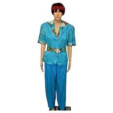 Silk Suit by Diane Freis Blue Hawaiian Silk Pants Trousers Suit Size UK 12
