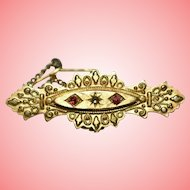 Victorian Etruscan Revival 9ct Gold Bar Brooch with Rubies and Diamonds 2.03 g