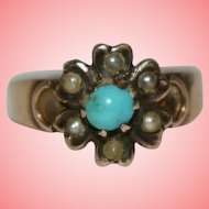 Victorian Antique Gold Ring with Turquoise and Seed Pearls Size L 1.83 grams