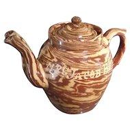 Antique Double-Spouted English Agateware Teapot