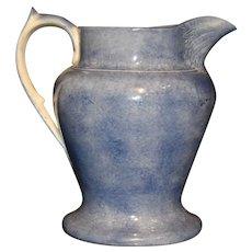 Antique Blue and White Spongeware/Spatterware Pitcher
