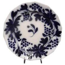 """Flow Blue Brushstroke Plate in the """"Grape Pattern"""""""