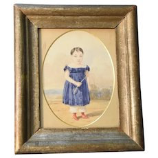 19th Century Watercolor Portrait of a Young Boy Holding a Whip
