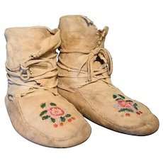 Pair of Native Made Moccasins From the Late 19th/Early 20th Century