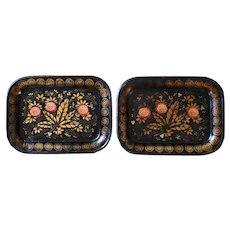 A pair of Victorian Era Tole Trays with Floral and Foliage Decoration