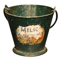 Antique Cast Iron Miniature Child's Milk Pail with Bail Handle