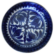 19th Century Flow Blue Brush Stroke and Spongeware Bowl in a Tulip or Lily pattern