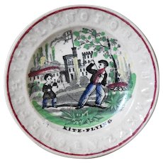 19th Century Staffordshire Pearlware Alphabet Child's Plate - Kite Flying