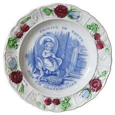 19th Century Staffordshire Pearlware Child's Plate - Now I'm Grandmother