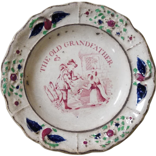 19th Century Staffordshire Pearlware Child's Plate - The Old Grandfather