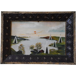 Circa 1900 Oil on Board Painting of Native Homes Around a Lake