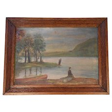 Oil on Canvas of a Lake Scene by Alex Cuppage