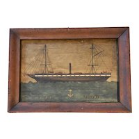 An Oil on Board Painting of the Two Masted Ship HMS Cleopatra