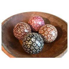 A Group of Four Polychrome Spongeware Late 19th Century Carpet Balls