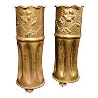 Pair of Trench Art Art Nouveau Vases