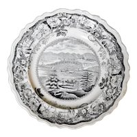 Staffordshire Plate of Picturesque Views of West Point on the Hudson River