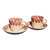 A Pair of Demitasse Size Cups and Saucers with Sponge Decoration