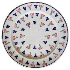 19th Century Spongeware Plate in Three Colors
