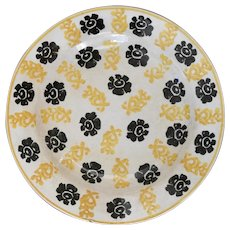 19th Century Spongeware Plate in Yellow and Black Decoration