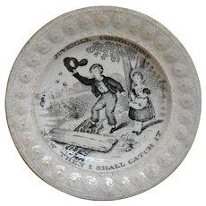 19th Century Black Transfer Printed Child's Plate of Juvenile Companions