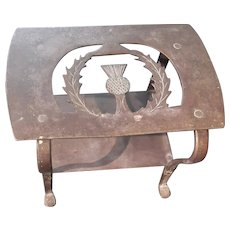 Iron Fireplace Trivet with Thistle Motif