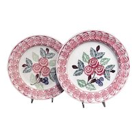 A Pair of Stick Spatterware Plates in the Peony Pattern