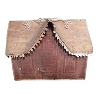 A Native Made Scratch Decorated Model House or Carrying Tote