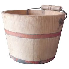 A Mid-Size Berry Picking Pail in Grain Paint Circa 1900