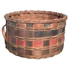 Small Native Made Basket in Blue and Red, Circa 1880