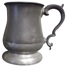 19th Century James Yates One Pint Pewter Tulip Tankard