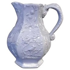 Antique Mason's Pitcher in Blue Relief with Serpent Handle