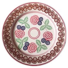 Four Colored Spongeware Plate in the Peony Pattern